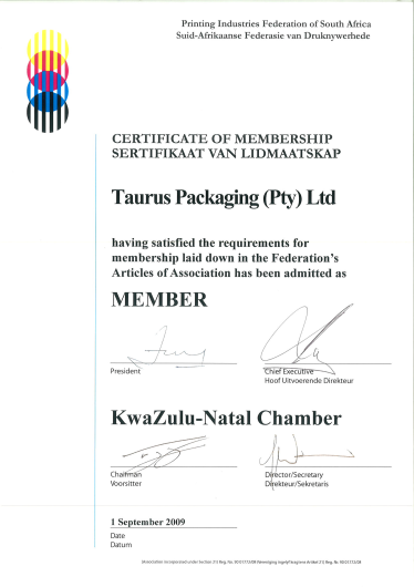 Taurus-Packaging-Printing-Industry-Membership-Certificate